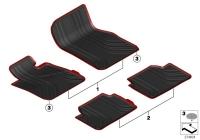 Резиновые с красной окантовкой ножные коврики для BMW F20 1-серии
